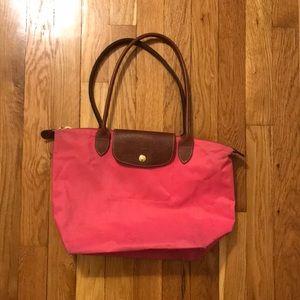 "Longchamp Medium ""Pink"" Le Pliage Top Handle Tote"